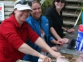 Filleting the days catch at Pukenui Holiday Park